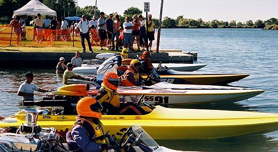 Boat racers lineup on Snake River photo courtesy of City of Burley